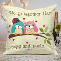 Indigifts Owl Couple Sitting On A Branch With Hearts White Cushion Cover