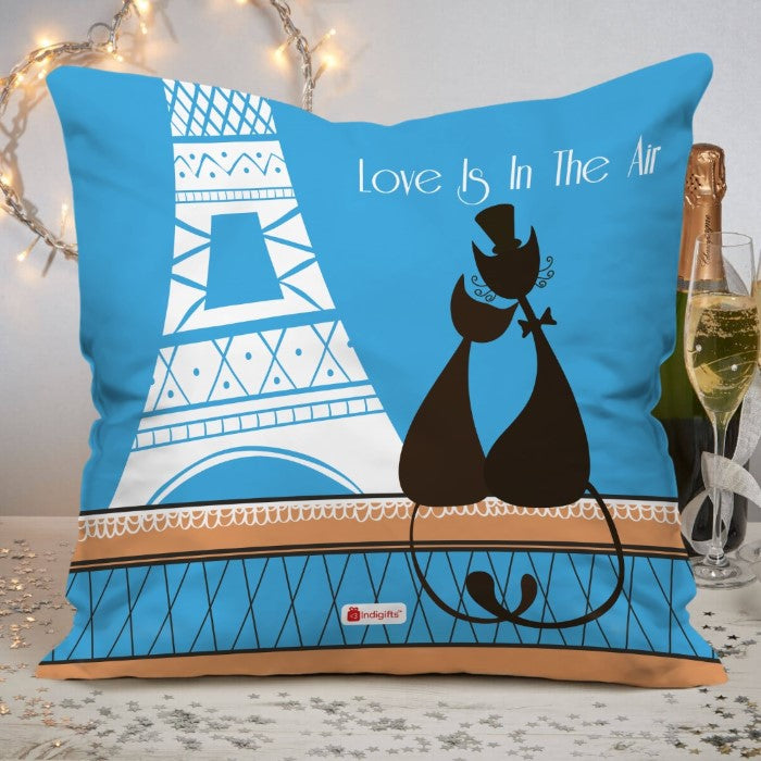 Indigifts Pussy Cat Love with Eiffel Tower Silhouette Blue Cushion Cover