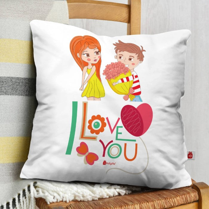 Indigifts Young Guy Proposing His Love White Cushion Cover