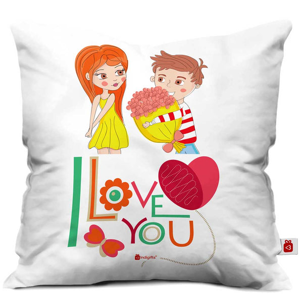 Young Guy Proposing His Love White Cushion Cover