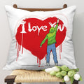 Indigifts Man Expressing Love With Spray Paint Heart White Cushion Cover