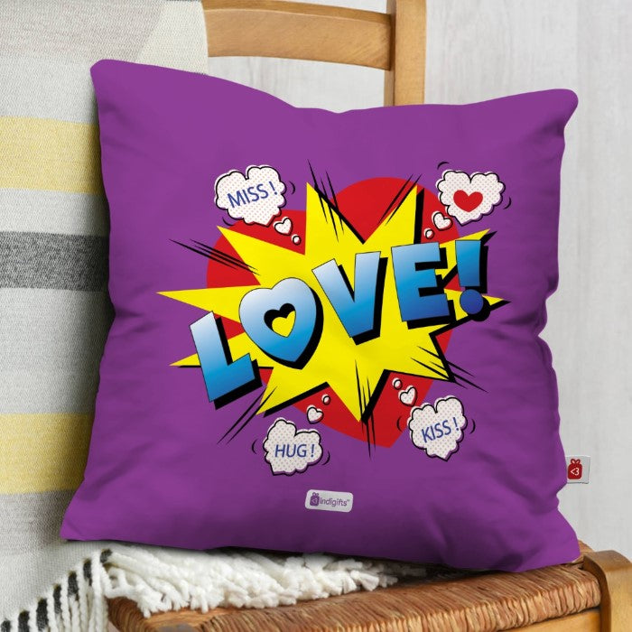 Indigifts Pop Art Love Blast Purple Cushion Cover