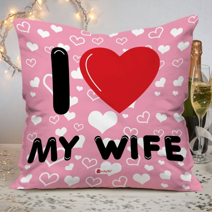 Indigifts I Love My WIFE Quote Seamless Heart Pattern with Quote Pink Cushion Cover