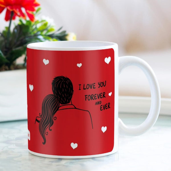Indigifts Romantic Couple Sitting Together Red Coffee Mug