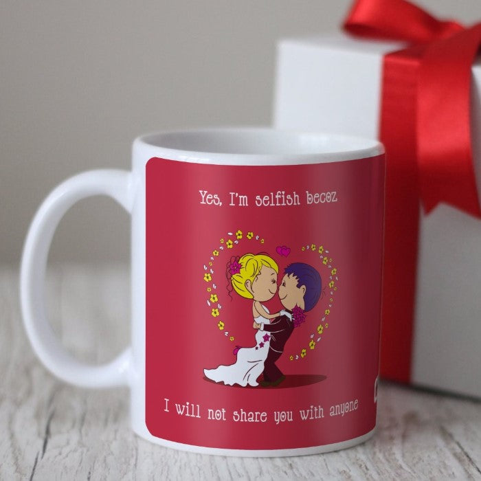 Indigifts Newlywed Holding Each Other In Love Red Coffee Mug