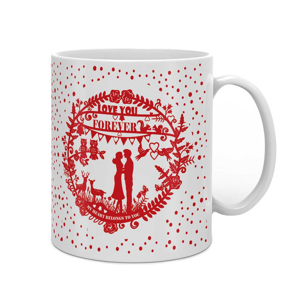 Indigifts Silhouette of a Romantic Couple White Coffee Mug