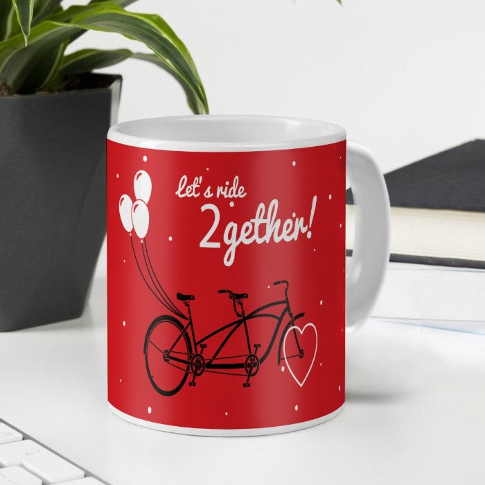 Indigifts Tandem Bicycle with Balloons Sketch Red Coffee Mug