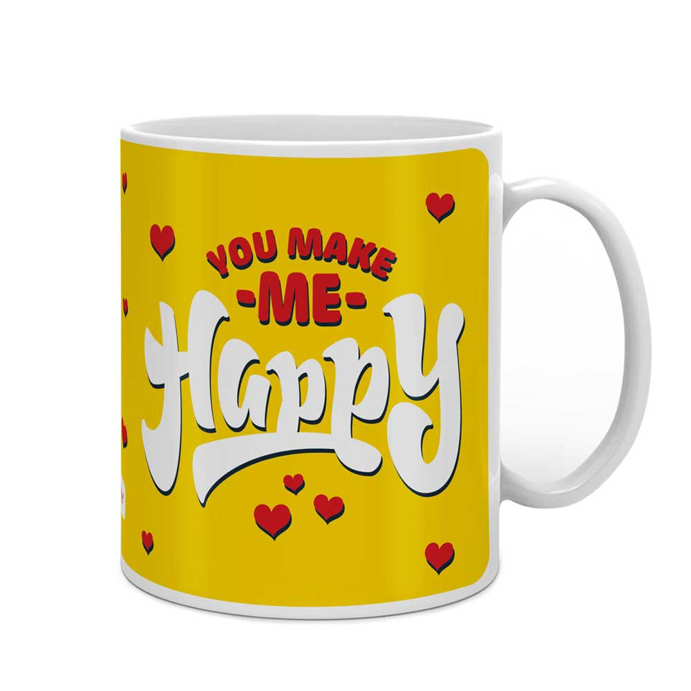 You Make Me Happy Quote Yellow Coffee Mug