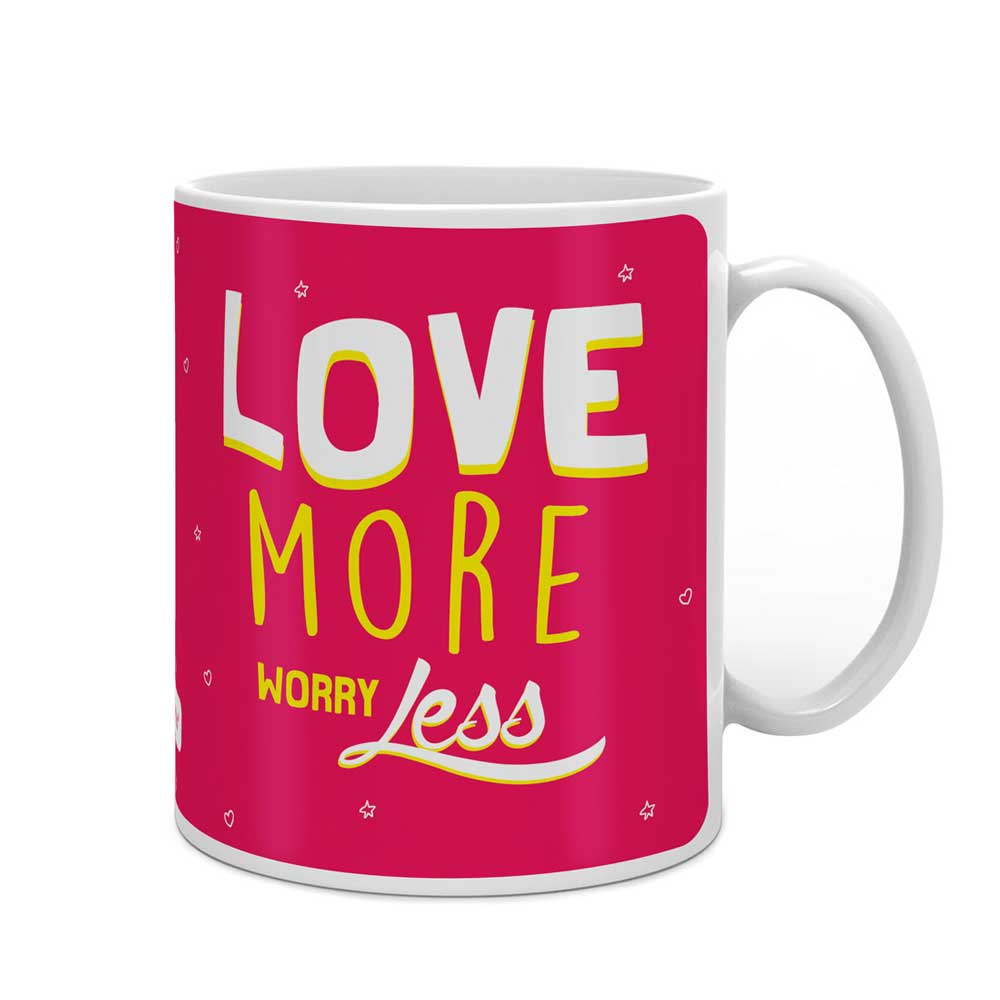 Indigifts Love More Worry Less Quote Pink Coffee Mug