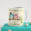 Indigifts Owl Couple Sitting On A Branch With Hearts White Coffee Mug