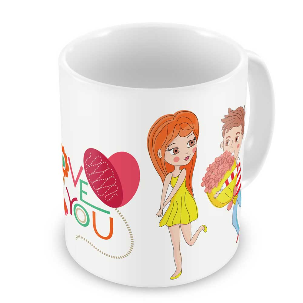 Young Guy Proposing His Love White Coffee Mug