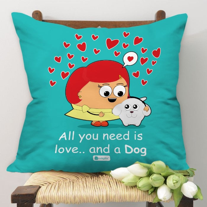 Indigifts You Need Love Quote Unconditional Pet Love, Girl & Dog Illustration Blue Cushion Cover