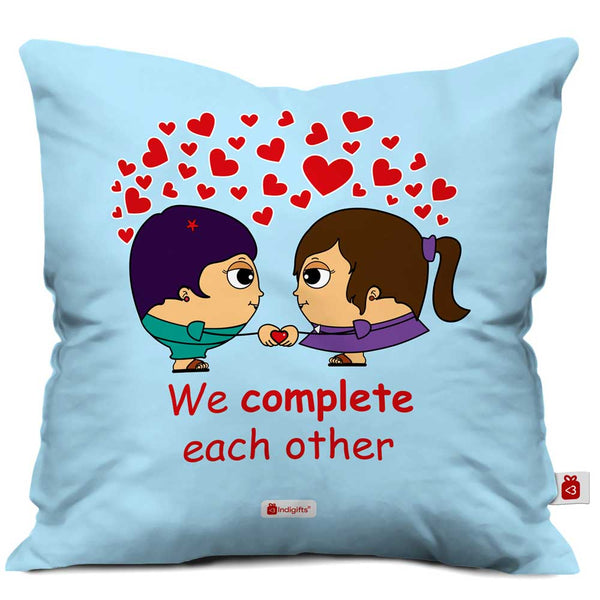 Lesbian Couple Illustration Blue Cushion Cover
