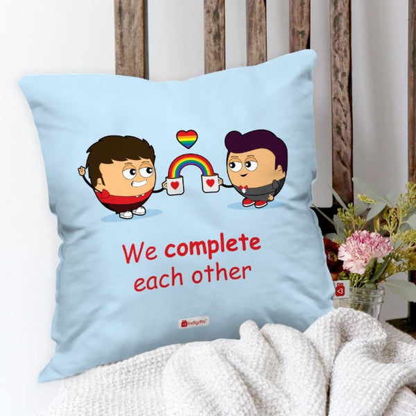Indigifts Gay Couple Illustration Blue Cushion Cover