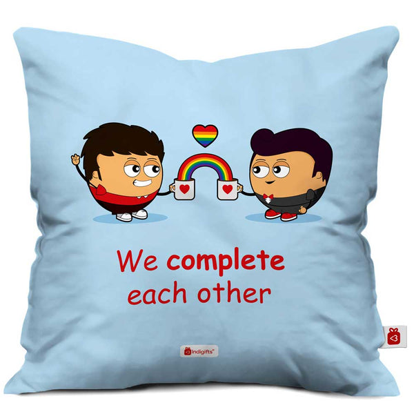 Gay Couple Illustration Blue Cushion Cover