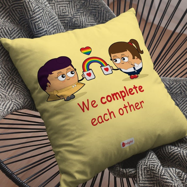 Indigifts Lesbian Couple Illustration Beige Cushion Cover