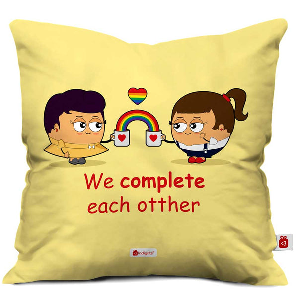 Lesbian Couple Illustration Beige Cushion Cover
