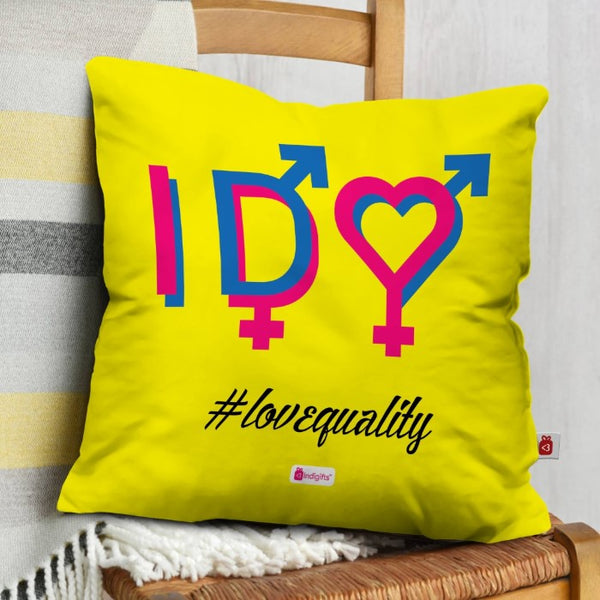 Indigifts Abstract Expression for LGBT Yellow Cushion Cover