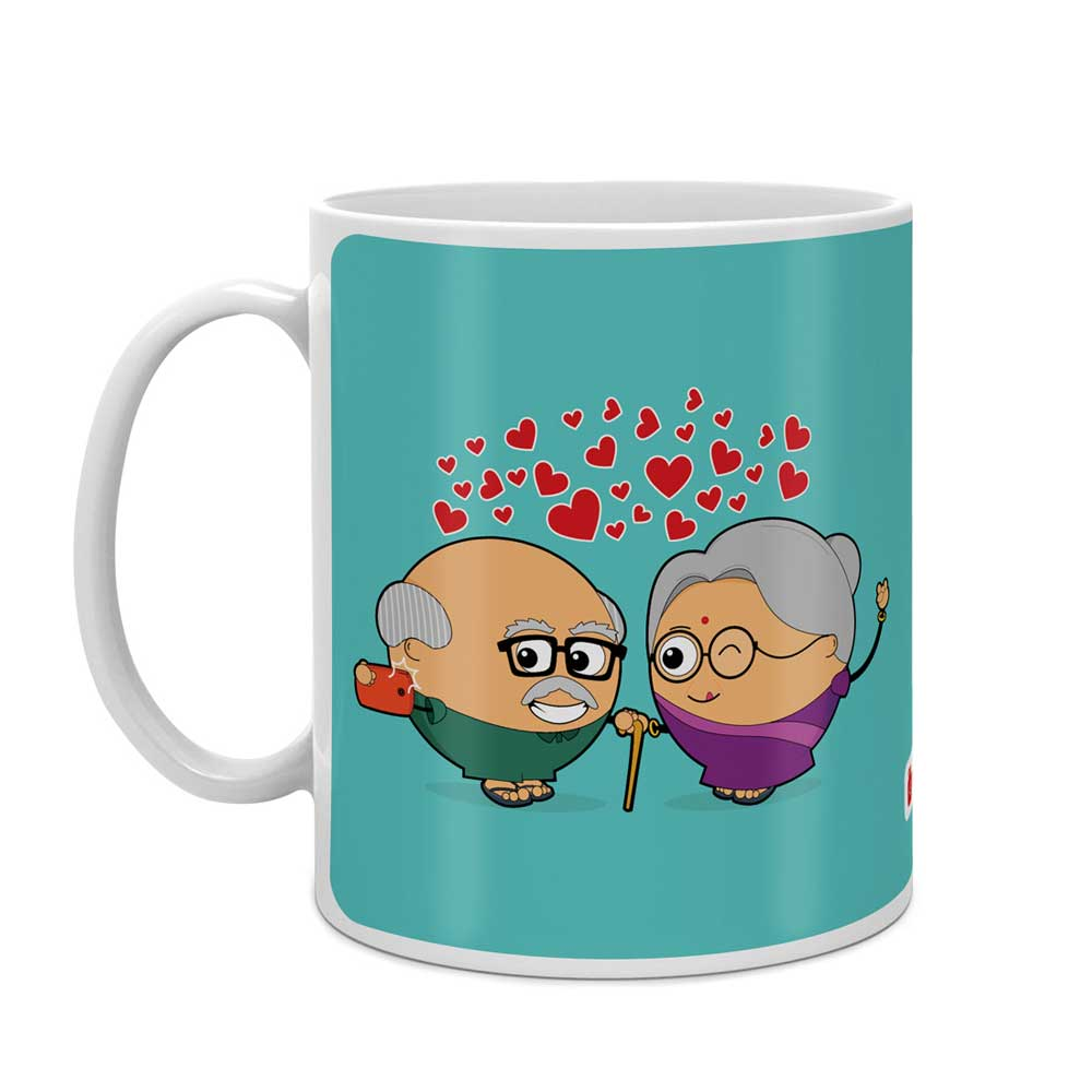 Cute Couple Taking Selfie Blue Coffee Mug