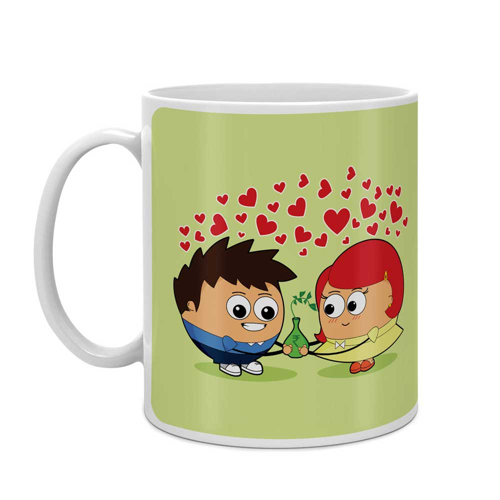 Indigifts Couple Sharing Responsibilities Green Coffee Mug