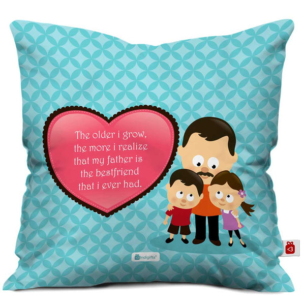 Father is my Best Friend Quote Father Children Love Blue Cushion Cover