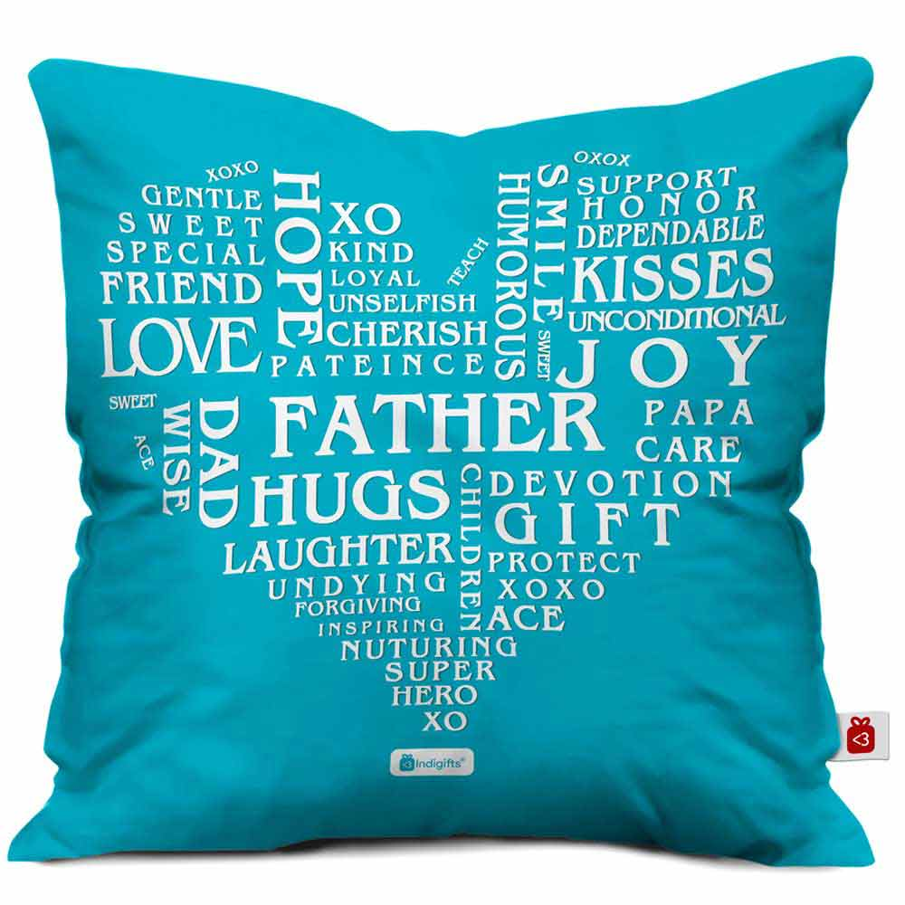 Words for Dad Quote Filled Heart Pattern Blue Cushion Cover