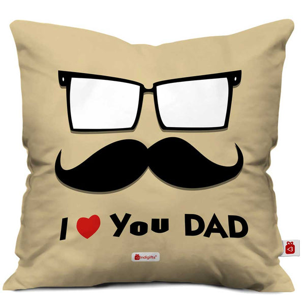 Love You Dad Quote Father Artistic Face Illustration Brown Cushion Cover