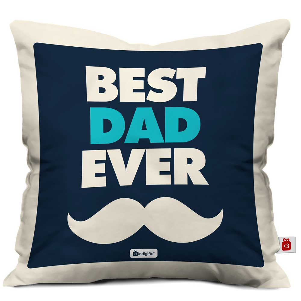 Indigifts Best Dad Ever Quote Father's Moustache Blue Cushion Cover