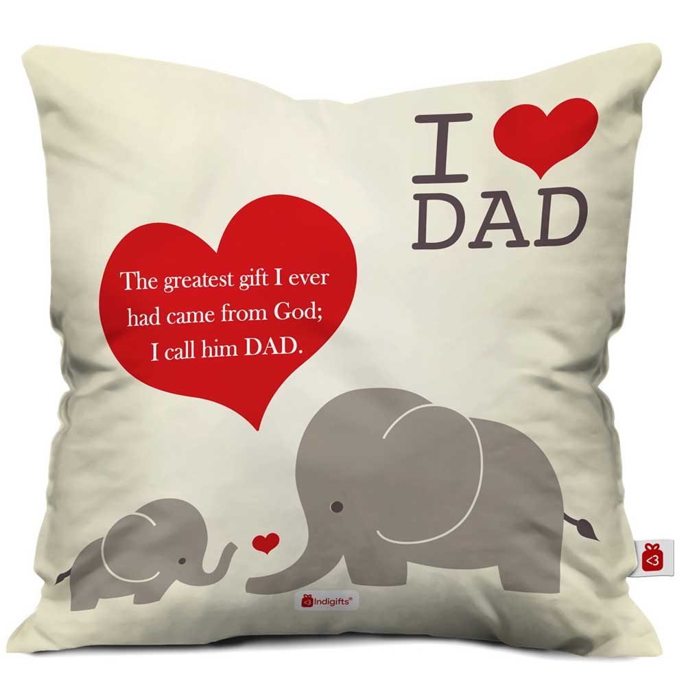 I Love Dad Quote White Cushion Cover