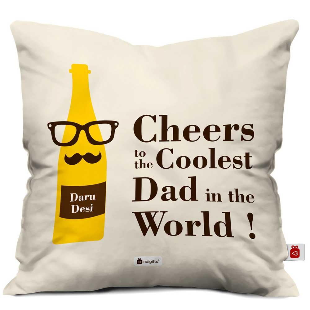 Indigifts Coolest Dad Quote Beer Bottle Design with Father's Moustache White Cushion Cover
