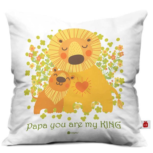 Papa You are a King Quote Lion Father and Cub White Cushion Cover 16x16 inches