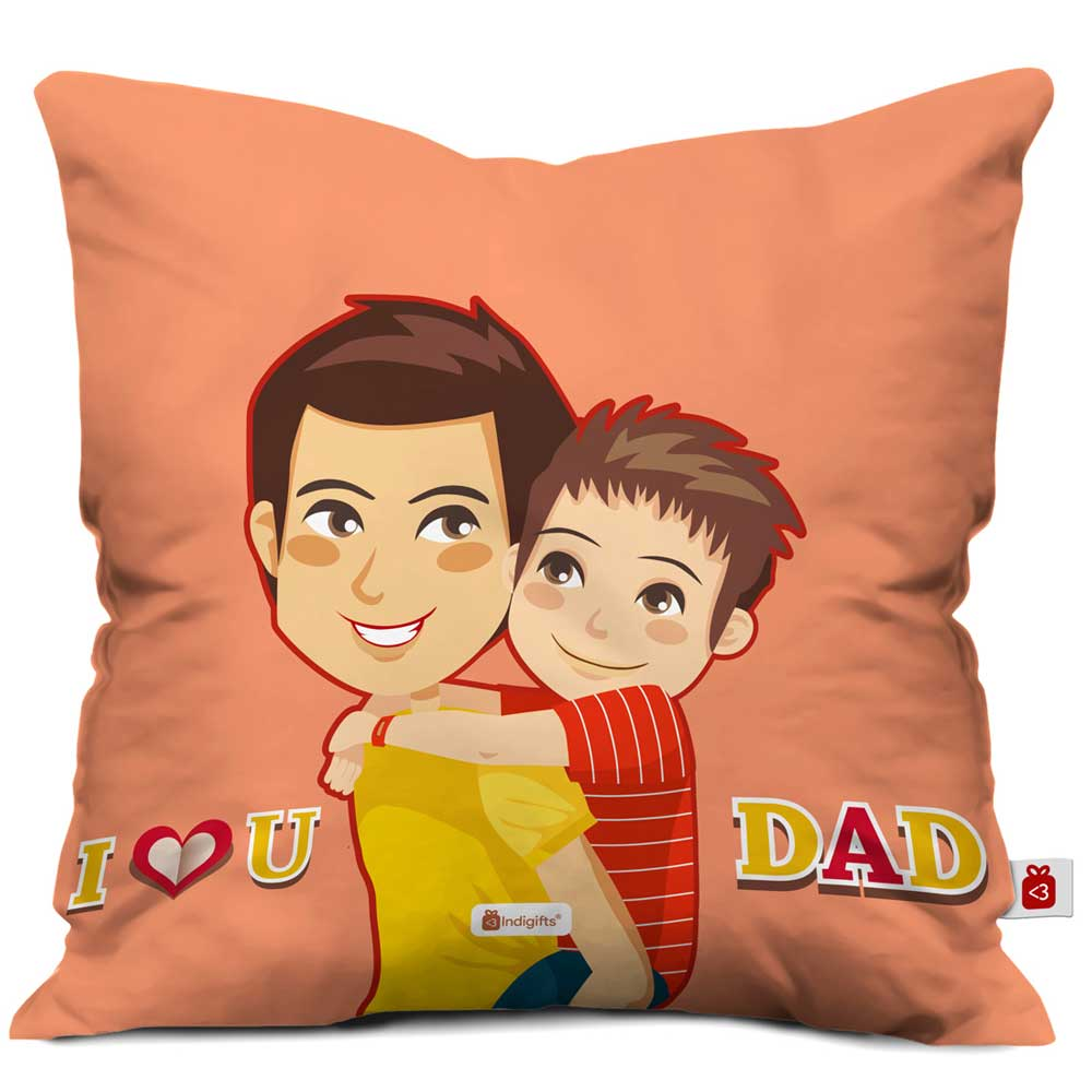 Indigifts Dad Son Love Orange Cushion Cover