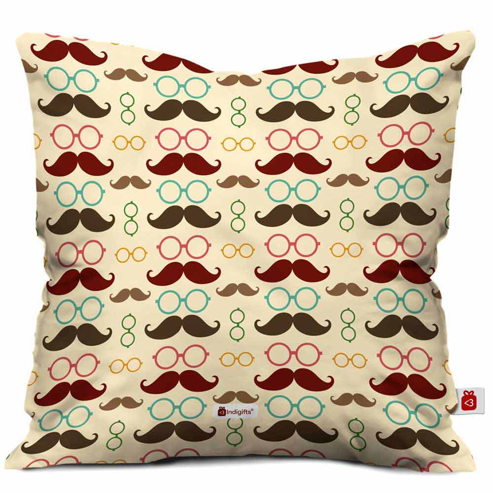 Indigifts Father's Moustache & Glasses Pattern Brown Cushion Cover