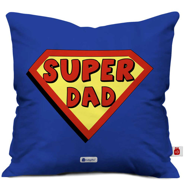 Super Dad Quote Blue Cushion Cover