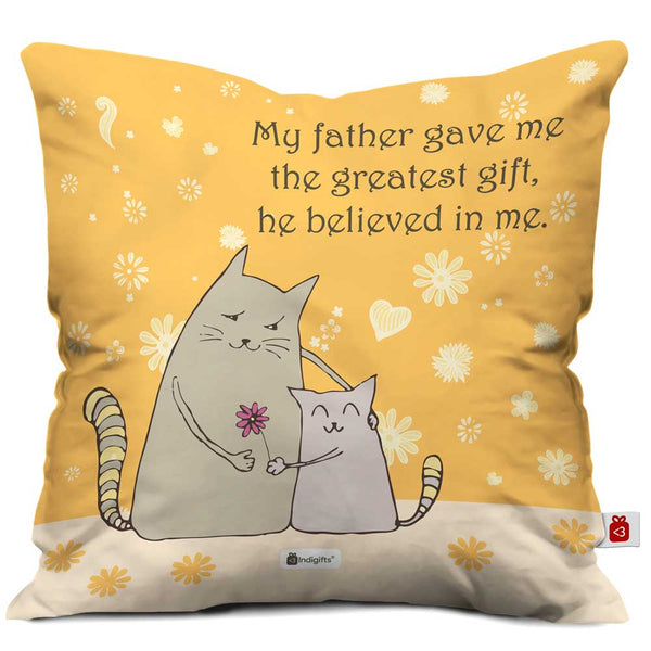 Father, You Believed in Me Quote Beige Cushion Cover