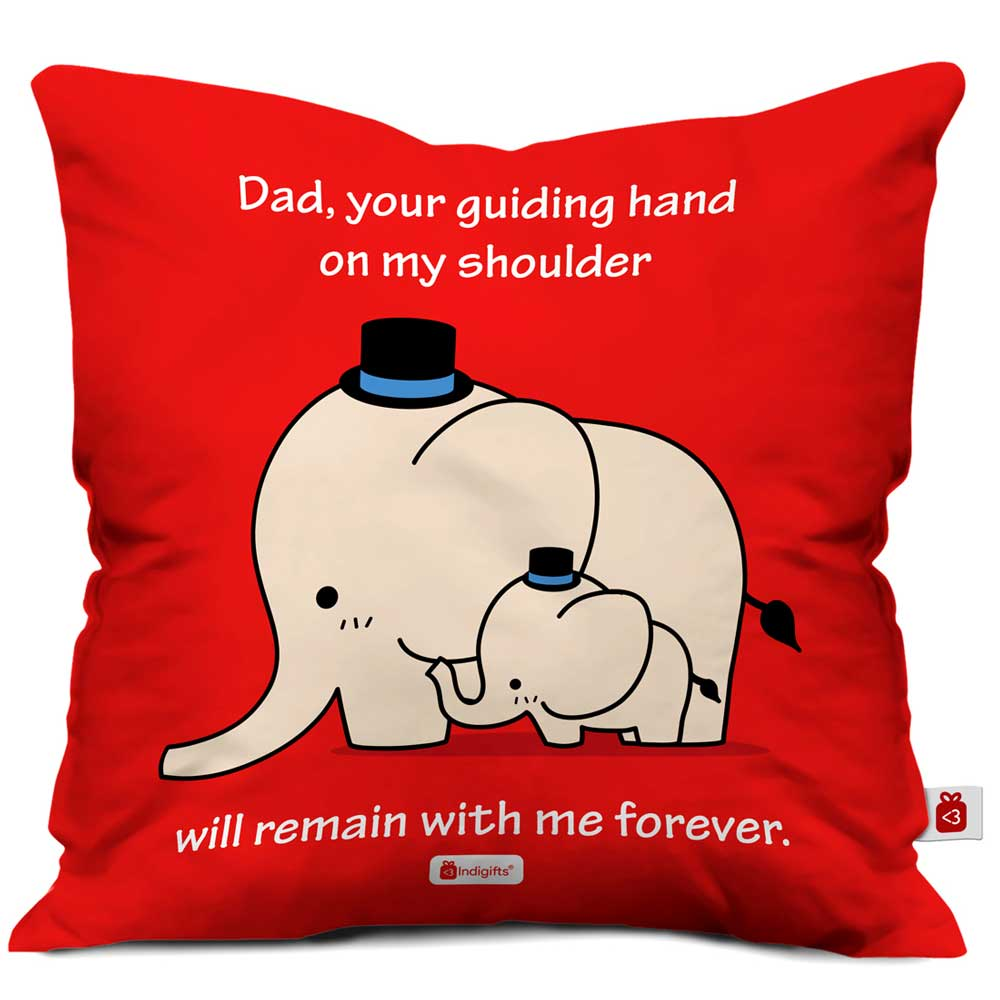 Indigifts Dad Guiding Hand Quote Red Cushion Cover