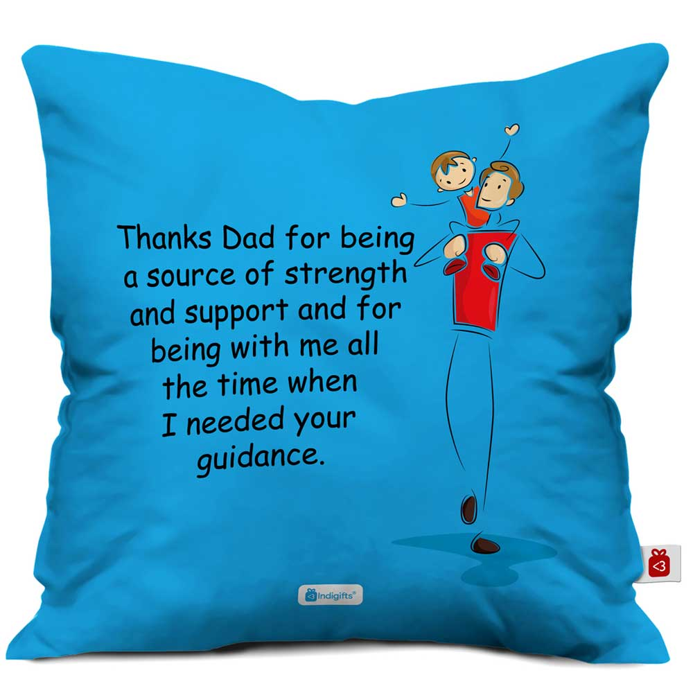 Indigifts Thanks Dad Quote Son on Father's Shoulder Blue Cushion Cover
