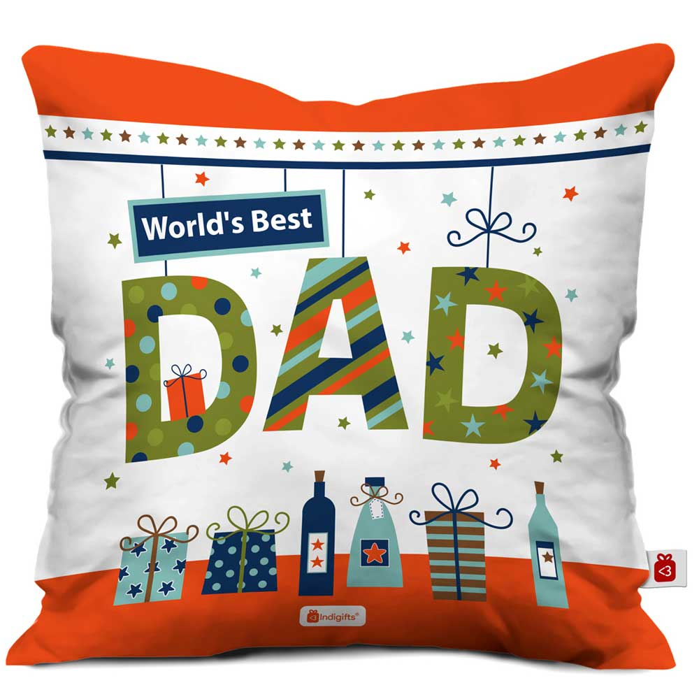 Indigifts World's Best Dad Quote White Cushion Cover