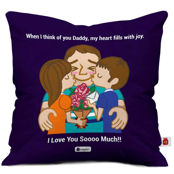 Love You Dad Quote Father and Children Blue Cushion Cover