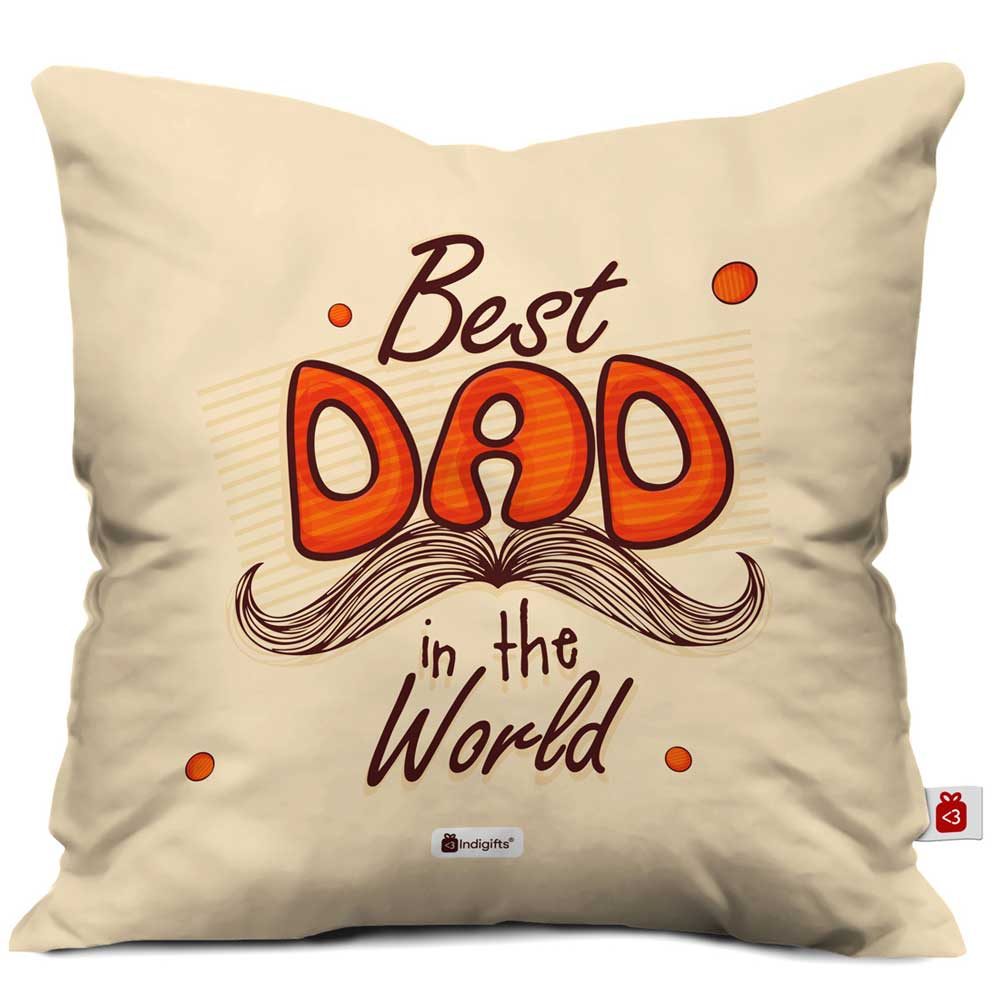 Indigifts Best Dad in the World Quote Father's Moustache Beige Cushion Cover