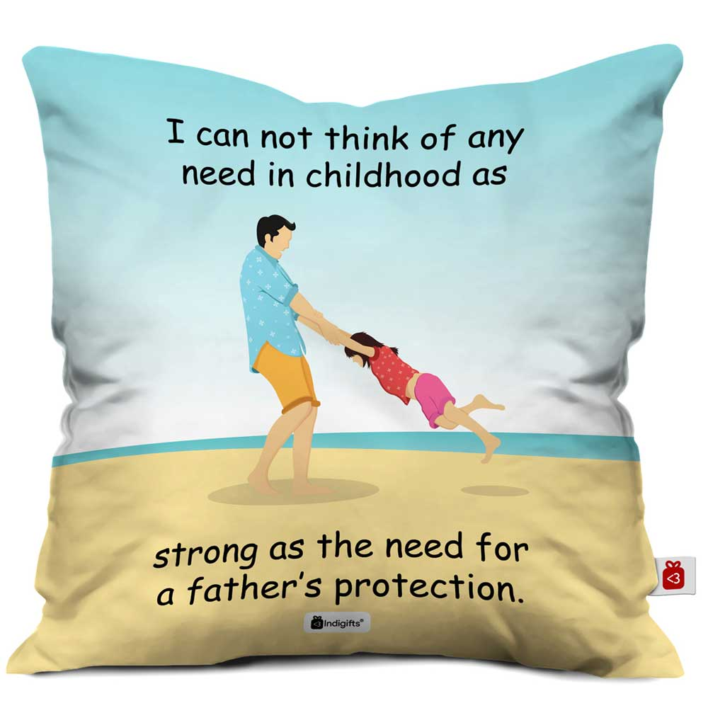 Indigifts Father's Protection Quote Father & Daughter Playing Multi Cushion Cover