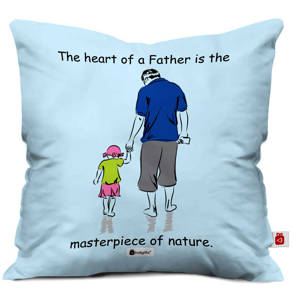 Indigifts Father Holding Daughter's Little Hand Blue Cushion Cover