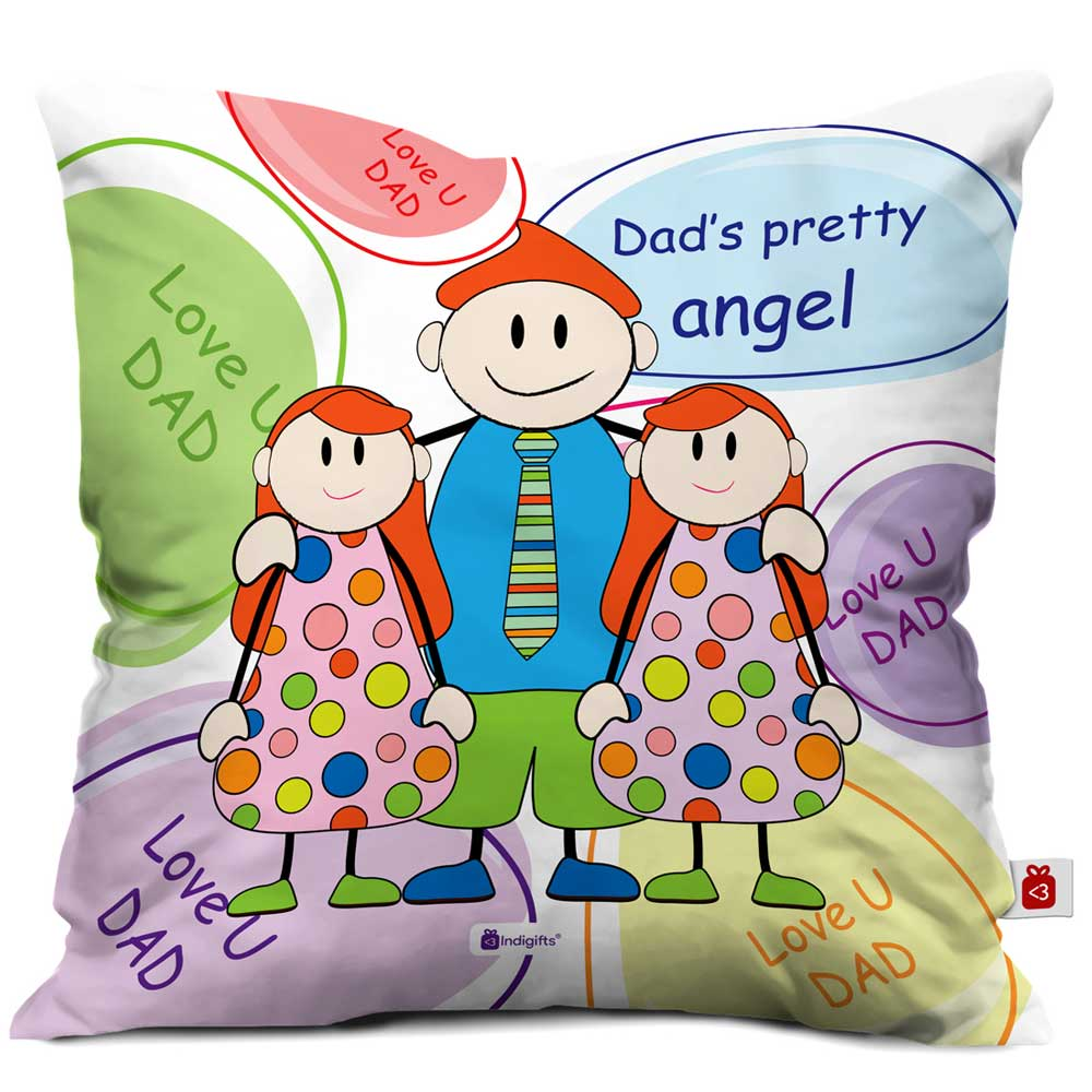 Indigifts Love You Dad Quote Multi Cushion Cover
