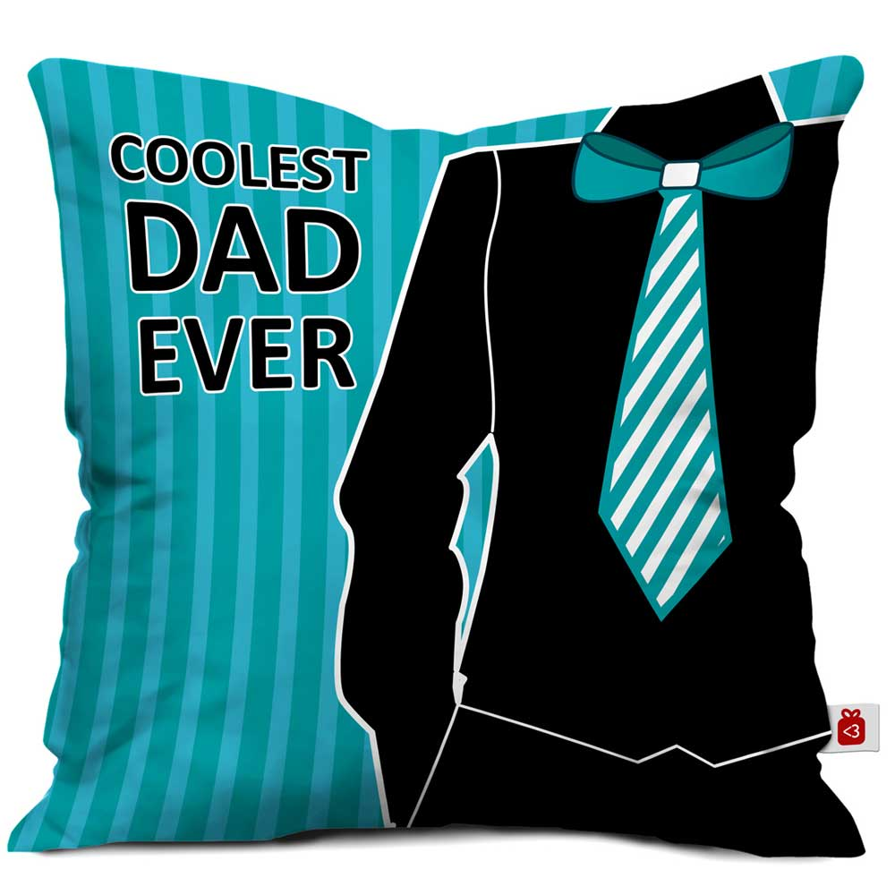 Coolest Dad Ever Quote Blue Cushion Cover