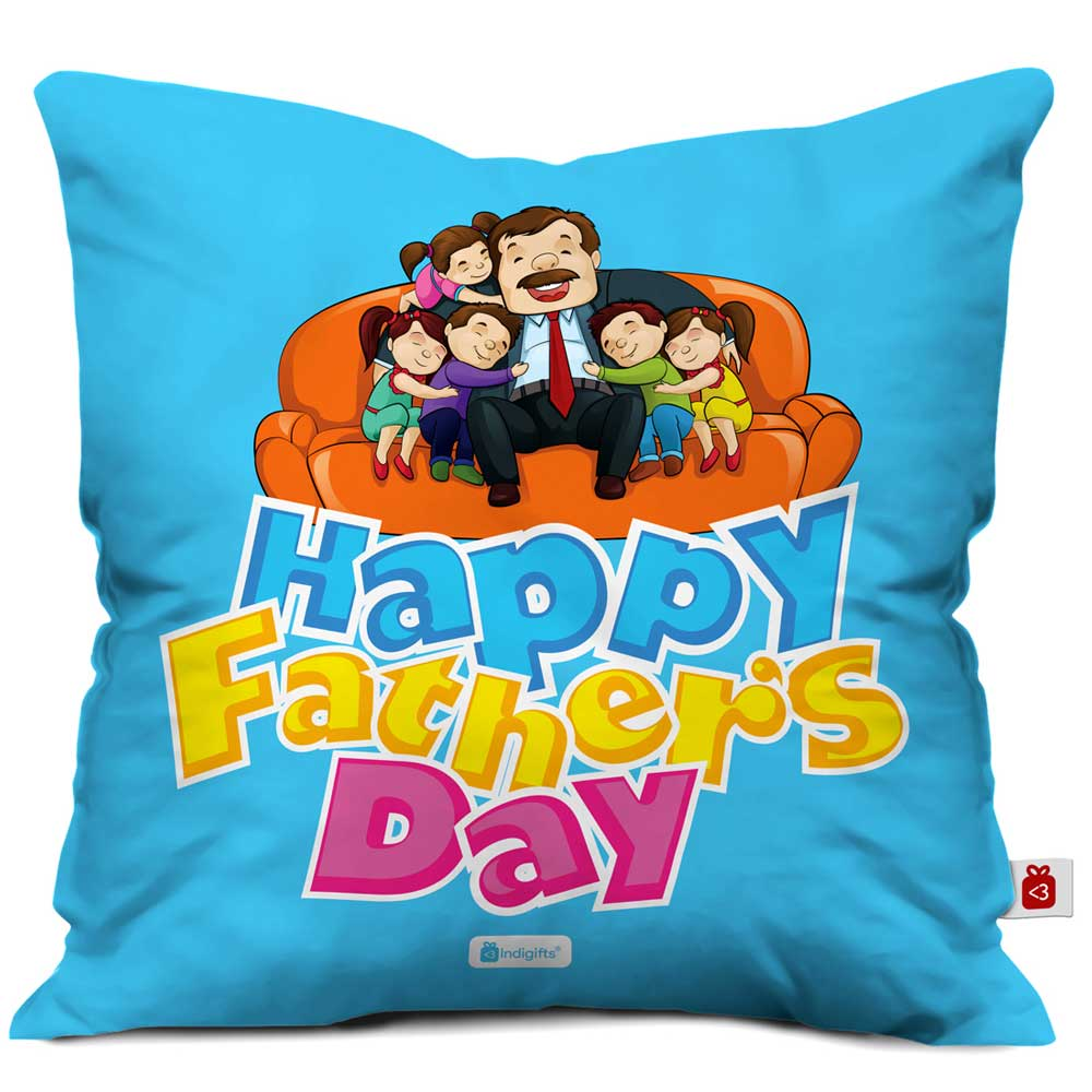 Happy Father's Day Quote Father and Children Blue Cushion Cover