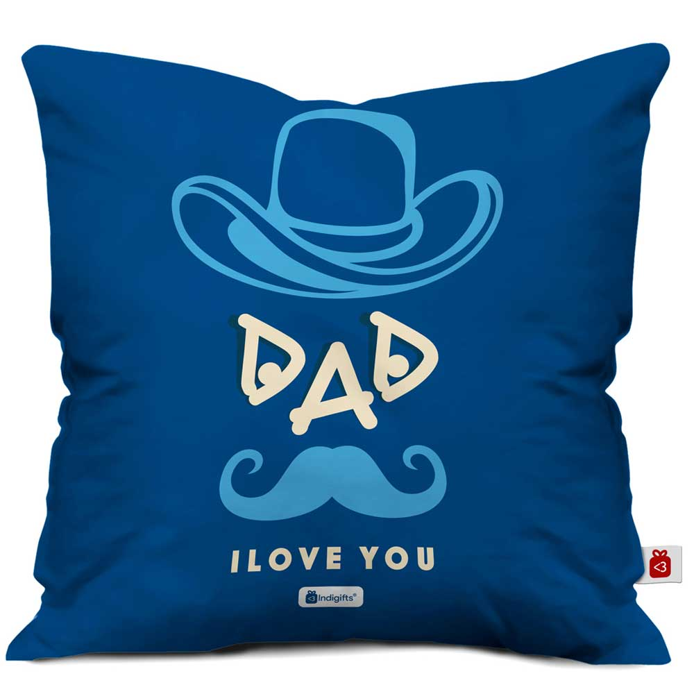 Indigifts Dad Love You Quote Father Figure Blue Cushion Cover 16x16 inches - Birthday Gift for Papa-Dad, Parents Anniversary Gifts, Daddy Pillow