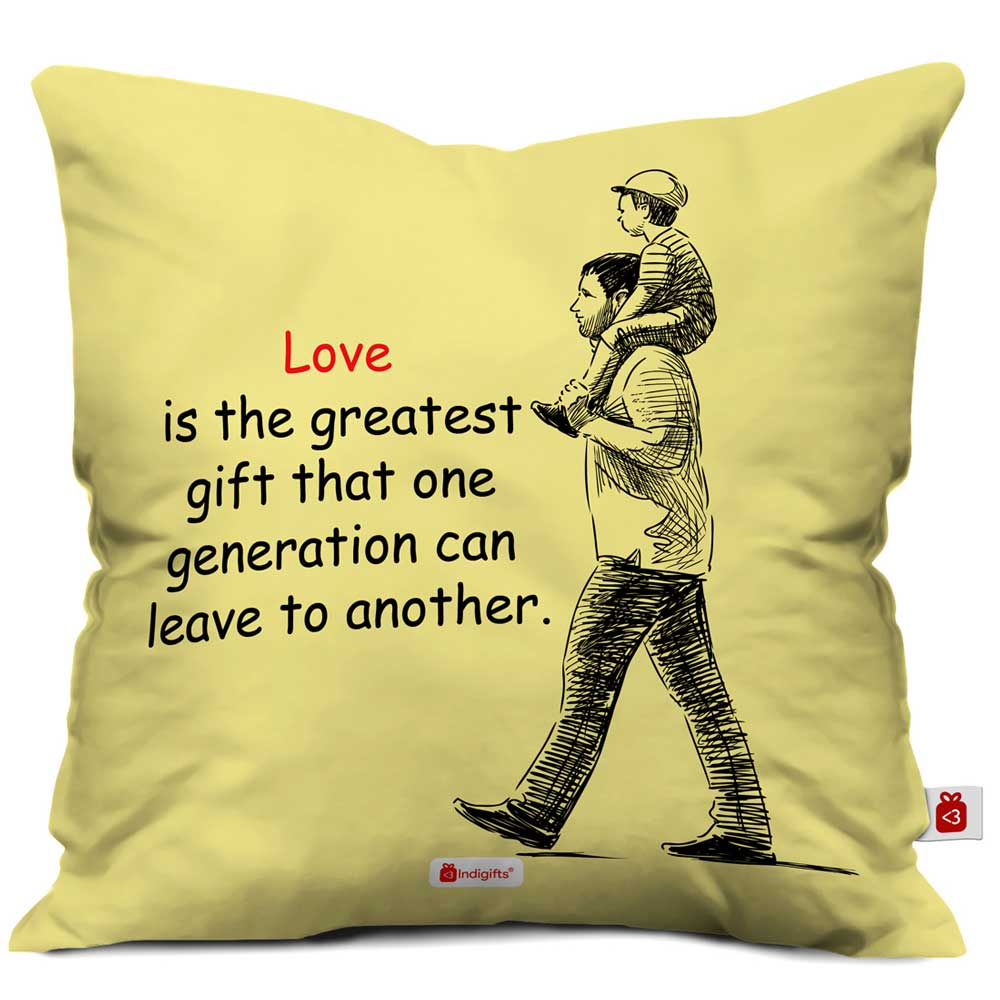 Indigifts Greatest Gift Love Quote Father & Son Beige Cushion Cover