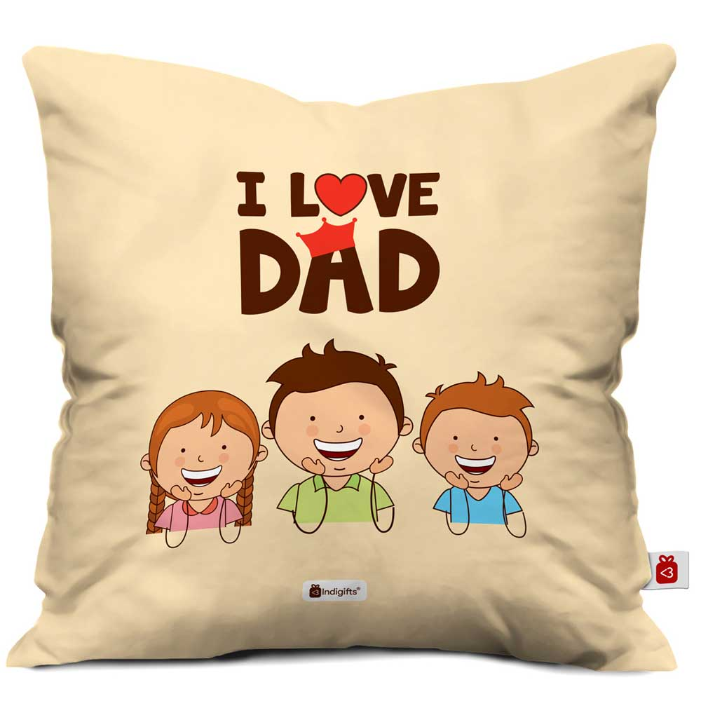 Indigifts I Love Dad Quote Brown Cushion Cover