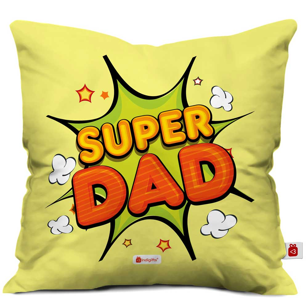 Super Dad Quote Yellow Cushion Cover
