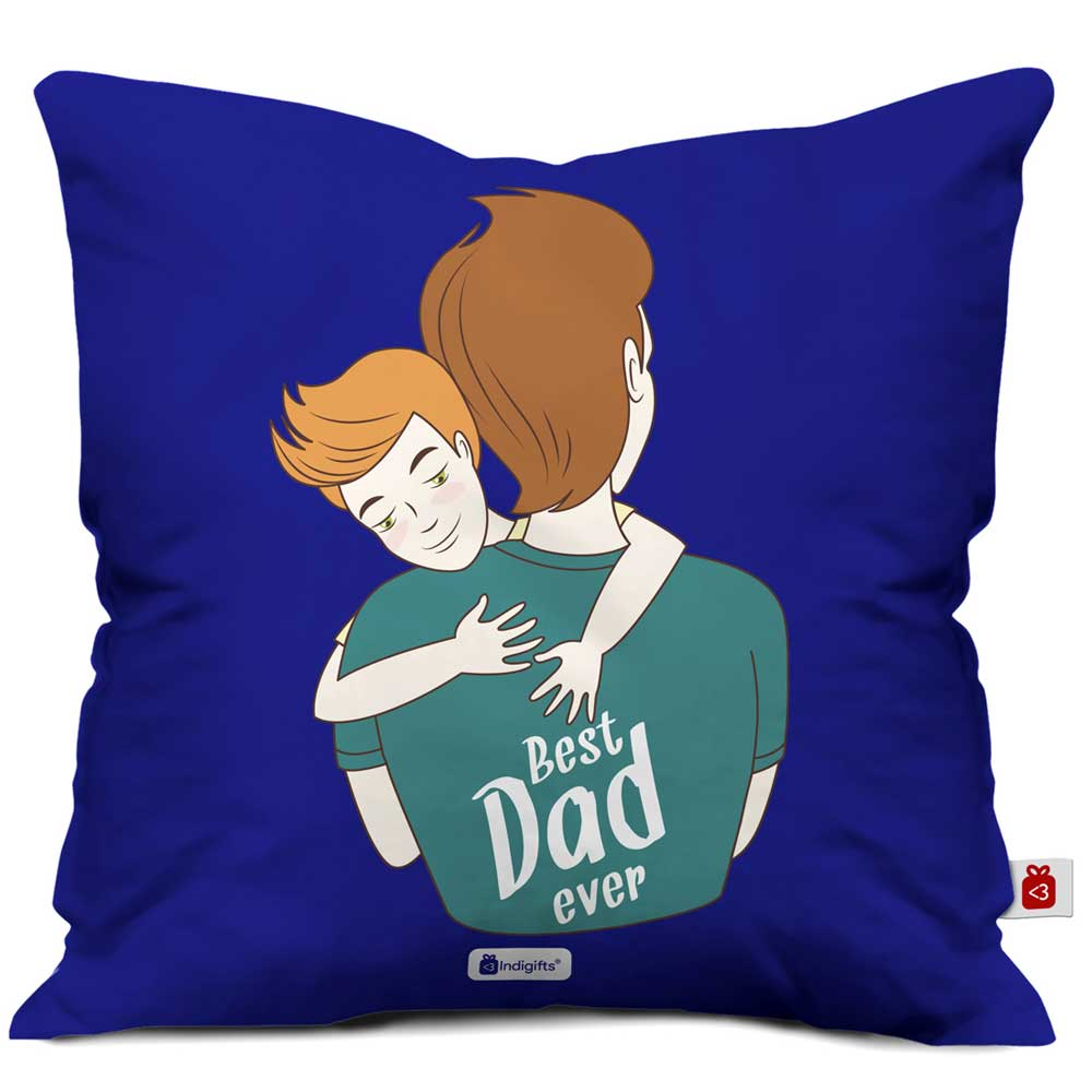 Best Dad Ever Quote Blue Cushion Cover